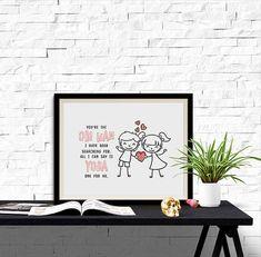 Girl Boy Love Quote Illustration Monochrome Yoda Obi Wan 8x10
