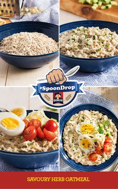 Start your morning right with this trendy savoury oatmeal. Accented with herbs and topped with a hard‑cooked egg, this oatmeal will be a hit with the whole family. Easy Cooking, Healthy Cooking, Healthy Eating, Cooking Recipes, Savory Oatmeal, Oatmeal Recipes, Clean Recipes, Healthy Recipes, Savory Herb