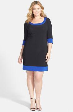 Colorblock Matte Jersey Shift Dress (Plus Size)
