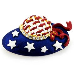 July 4th Hat Pin American Flag Crystal Pin Brooch - Fantasyard Costume Jewelry & Accessories
