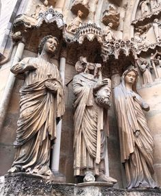 Statues outside of Reims Cathedral, Reims, France