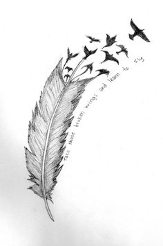 I really like the idea of a feather breaking up into birds! Connects two wonderful tattoo ideas!