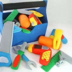Handmade felt and cotton tools for little boys (or girls)- how cute!