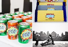 Super Hero Super Powers themed birthday party via Kara's Party Ideas. Love the vintage pop signs on the soda cans.This is so cute, so many neat ideas for a little boy's party! Must remember for when my little man gets older! Batman Birthday, Superhero Birthday Party, Batman Party, 4th Birthday Parties, Birthday Fun, Birthday Ideas, Spider Man Party, Avenger Party, Party Ideas