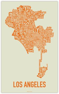 Typographic Map Los Angeles