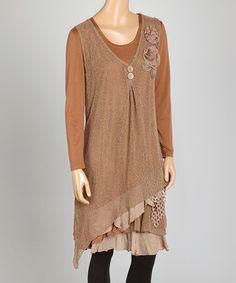 Another great find on #zulily! Brown Layered Handkerchief Linen-Blend Tunic #zulilyfinds