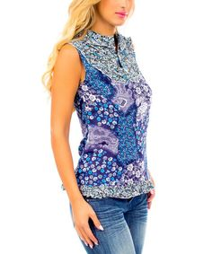 Loving this Blue Floral Mock Neck Top - Women on #zulily! #zulilyfinds