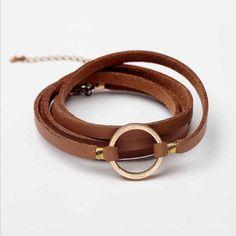 Simple Leather Alloy Black Bracelet