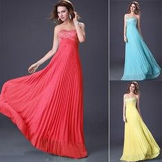 Beaded Bridesmaid Cocktail Prom Ball Gowns Long Chiffon Evening Party Dresses