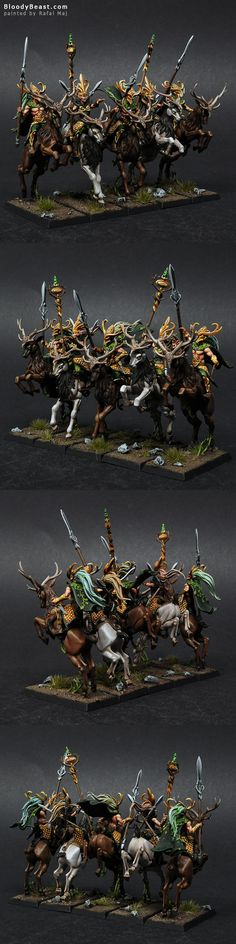 Wood Elves Wild Riders And Sisters Of The Thorn painted by Rafal Maj (BloodyBeast.com)