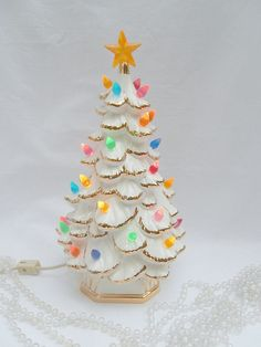 vintage ceramic Christmas tree 12 inches white and by brixiana Christmas Makes, Christmas Past, Modern Christmas, Retro Christmas, Christmas Items, Winter Christmas, Christmas Tree Baubles, Xmas Trees, Christmas Jewelry