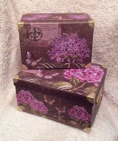 Tri-Coastal Steamer Trunk Decorative Nesting Storage Boxes. From the deep purple Kathryn White Collection. These and many more at for sale http://stores.ebay.com/alwayssocute4u