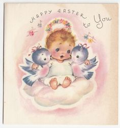Vintage Greeting Card Easter Cute Angel Blue Birds Rust Craft 1940s a538
