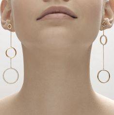 Earrings in yellow gold with diamonds - Geometric Code Collection