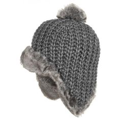 Rebecca Faux Fur Pom Pom Hat Gebeana winter beanie women´s beanie (One Size - grey)