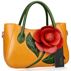 Flower Ladies Handmade Leather Tote Handbags - Pijushi Designer Inspired Flower Ladies Handmade Leather Tote Handbags  Link    #fashion #women #womenfashion