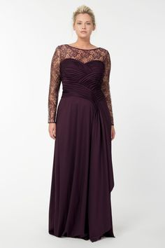 Long Sleeve Charmeuse Gown in Barberry | Tadashi Shoji Fall / Holiday Plus Size Collection