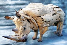 Rhino sculpture made from driftwood! One word for this sculpture? 🙂 Source This post has been shared 436 times. Driftwood Sculpture, Sculpture Art, Ribbon Sculpture, Sculpture Ideas, Driftwood Crafts, Driftwood Ideas, Driftwood Beach, Wow Art, Wooden Art