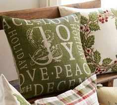 Find throw and accent pillows from Pottery Barn to easily update your space. Shop our pillow collection to find decorative pillows in classic styles, prints and colors. 12 Days Of Christmas, Winter Christmas, Christmas Crafts, Merry Christmas, Tartan Christmas, Christmas Stuff, Christmas Ideas, Pottery Barn Christmas, Hanukkah Decorations