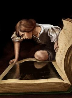 """""""Narciso"""" by Emilia Dziubak (after Caravaggio) ~Via Readers In Art - (Charlotte T. Jackson) Stay Away from People Who Can't Take Responsibility Reading Art, Woman Reading, I Love Reading, I Love Books, Great Books, Books To Read, Big Books, World Of Books, Lectures"""