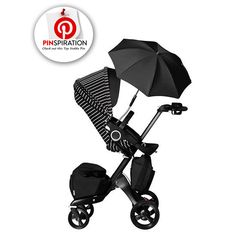 STRIPES! Stokke True Black Xplory with Stripe Style Kit.... Available exclusively at Neiman Marcus.