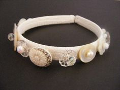 Upcycled vintage lace, vintage buttons and vintage beads headband - TrifleRabbit