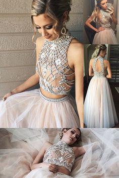 Fashion High Neck Prom Dresses,Two Piece Prom Gowns,A line Tulle Prom Dress with Beading,SIM630