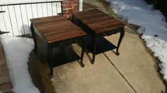 Repurposed pallet wood end tables upscale.  Check out Knot your usual furniture on Facebook at https:// m.facebook.com / profile.php