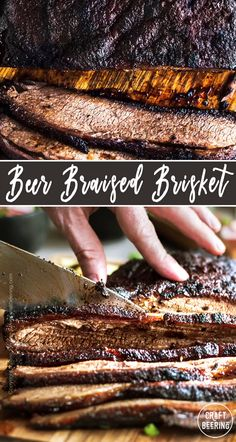 How to braise beer brisket in the oven or slow cooker. Easy recipe with tips on suitable beer styles. Oven Roasted Brisket, Oven Baked Brisket, Grilled Brisket, Braised Brisket, Smoked Beef Brisket, Cooking Brisket In Oven, Slow Roast Brisket, Brisket Tacos, How To Cook Brisket