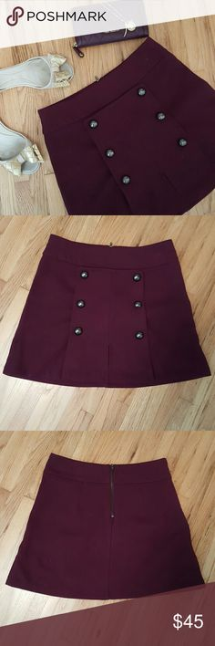🌹 2x HP 🌹 COPE ™ | Burgundy Mini Skirt ❇️ POSH BDAY SALE!! ❇️ Let's celebrate together!! 🎉🎂  30% off three or more listings!! 🎁❤️ ENDS 01/28 @ 12:00 am.  Cute burgundy mini skirt. The skirt has a zip closure in the middle of the back. Buttons on the front of the skirt are for design. There are a few minor snags on the waistline on the back.  • Waist 26 inches • Length of the skirt is 16 inches  Open to offers! 😘 COPE Skirts Mini