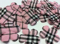 15 BIG Padded Pink Gingham Flower Appliques by creationandsupplies, $3.50