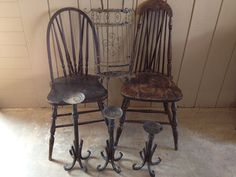 Primitive Antique Wood Chairs by HappyTrailsThrift on Etsy, $39.00