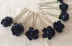 Black Rose Hair Pins x 8 Goth Mourning Steampunk Steampunk Wedding, Flower Girl Hairstyles, Rose Hair, Paper Roses, Wedding Bride, Hair Pins, Bobby Pins, Goth, Hair Accessories