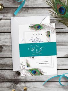 Metallic Peacock Passionate Wedding Invitation by PaperCharmStore