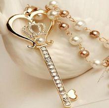 Moda coração Golden Crown chave pingente imitação de pérolas colar e pingente de cristal
