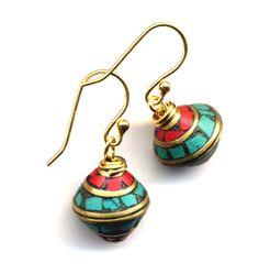 4f1b733c4 Tibetan Earrings, Tibet Earrings, Nepal Earrings, Coral and Turquoise  Earrings, 18K gold filled Wire, Handmade Nepal Jewelry by AnnaArt72