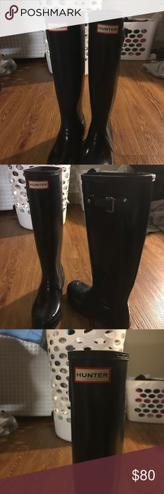 Size 5 Hunter Tall Glossy - Dark Navy **50% OFF** Hunter Wellington boots, size 5, navy but almost look black, ***worn less than five times*** Hunter Shoes Winter & Rain Boots