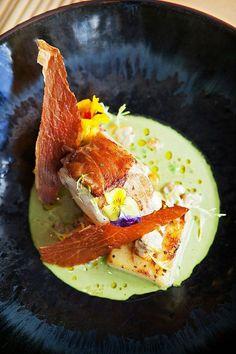 Serves 6 Parma Ham Roast MonkfishAllow of whole monkfish per porti. Ham Recipes, Seafood Recipes, Gourmet Recipes, Green Tomato Chutney Recipe, Monkfish Recipes, Western Food, Chutney Recipes, Fish Dishes, Vegan Dishes