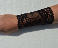 Lace Black Bracelet Lace Black Wrist Cuff Black Stretch by Sizana Lace Boot Cuffs, Knitted Boot Cuffs, Knit Boots, Black Laces, Black Boots, Wellies Boots, Lace Bracelet, Perfect Gift For Her, Punk Fashion