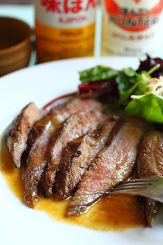 Flank Steak with Miso Butter – the most tender, juiciest, and delicious flank steak ever. Make it at home with this easy recipe | rasamalaysia.com