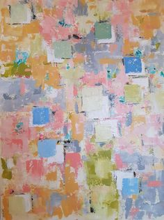 In My Studio... Painting // Pastels - Grand tableau aux couleurs pastels, carrés en relief.