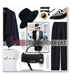 """""""office summer hat"""" by nanawidia ❤ liked on Polyvore featuring Iris & Ink, Ally Fashion, Maison Michel, Nicholas Kirkwood, MICHAEL Michael Kors and Kate Spade"""
