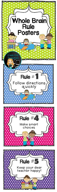 {Freebie} Whole Brain Teaching rules posters. By Grade One Snapshots.