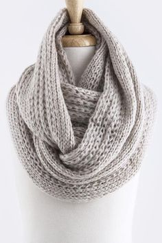 Cable Knit Infinity Scarf in Ivory