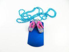 Little girls blue flip flop necklace  by jewelryandmorebykat