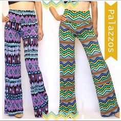 COMFY AND TRENDY PALAZZOS! Very pretty Purple or Green print palazzos made in ultra soft polyester/spandex. Wrinkle resistant and super comfortable! Double banded waist that can be folded down if you like a lower waist. NWOT ‼️PLEASE DO NOT BUY THIS LISTING. SPECIFY COLOR AND SIZE. Pants