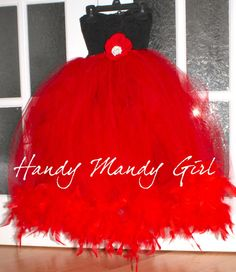 Black lace and tutu skirt with feather Christmas by HandyMandyGirl, $85.00