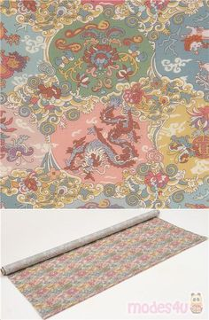 colorful lightweight cotton fabric with dragons, komainu, flowers, clouds etc., Tana Lawn™ is named after Lake Tana in Ethiopia, Africa, where the original cotton grew; Tana Lawn™ is known for being soft, silk-like and vibrant. It is printed via a meticulous method that has been perfected by Liberty Fabrics, to ensure each fabric is sleek, bright and of incredibly high-quality. Tana Lawn™ fabrics are printed in their fabric mill in Italy. #Lawn #Animals #AnimalPrint #OtherAnimals #Insects…