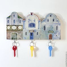 Buy or order Wooden Key holder Blue Houses in online shops on My Livemaster. Look on this blue cozy houses! This wonderful wooden key holder is the best present! Art image of original houses will decorete your wall. Its compact size 28x17 cm let you hang it on column or narrow wall. This key holder has 3 hooks for your keys. If you have any question about this cozy key holder - please ask me!