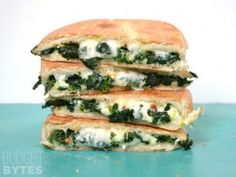 Spinach Feta Grilled Cheese. Mix in more regular shredded cheese. Good!